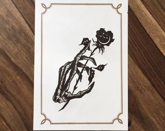 LIMITED Dead Hand Rose  - Tattoo print 50/50 signed