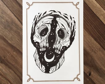LIMITED Astral Skull  - Tattoo print 50/50 signed
