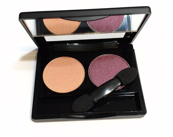 BERRY PEACH Duo Pressed Mineral Eye Color Palette - Natural Makeup Eye Shadow