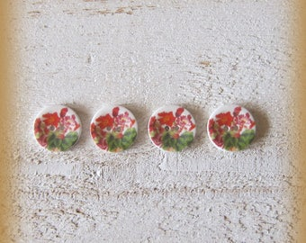 Set of 4 porcelain buttons of 18mm