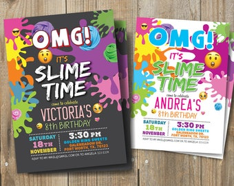 Slime Birthday Party invitation, Slime Party invitation, It's Slime Time Invitation, Emoji Emoticon Slime Birthday Party