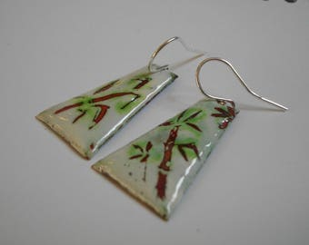 """""""Bamboo"""", enamel earrings, white, green, copper and Silver 925/1000"""