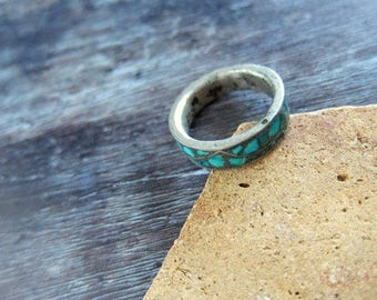 Tribal chrysocolla ring,chrysocolla ring, chrysocolla jewelry,chrysocolla jewellery,blue ring, stone chips ring,tribal ring,band ring,rings