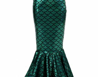 Girls Mermaid Skirt in Green Dragon Scale Full Length, High Waist, Sizes 2T 3T 4T and 5-12