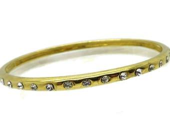 J Crew Gold Tone Bangle | Rhinestone Studded Skinny Bangle Bracelet