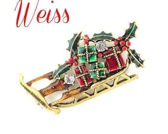 Weiss Sleigh Brooch, Xmas Gift Brooch, Rhinestone Sleigh Pin, Gift Laden Holiday Brooch, Santa's Sleigh Pin, FREE SHIPPING