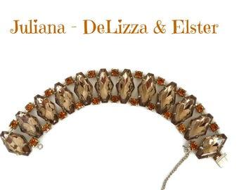 Juliana D&E Rhinestone Bracelet, Vintage Goldtone Link Bracelet, Topaz and Orange Rhinestone Bracelet, Bridal Jewelry, FREE SHIPPING