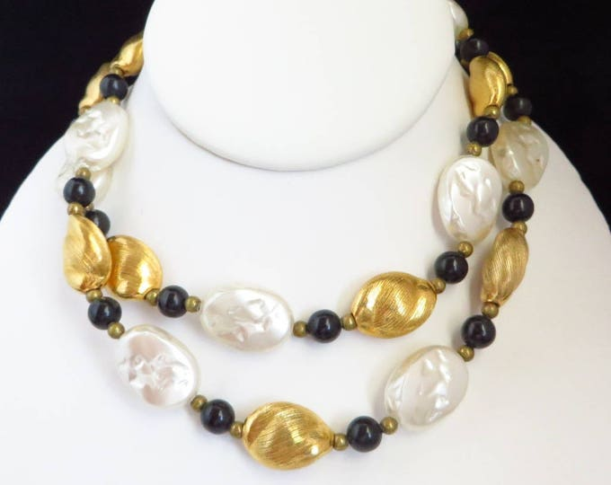 Vintage Glass Necklace, Tricolor, Black White Gold, 29 Inch Length Grooved Dimpled Bead Necklace
