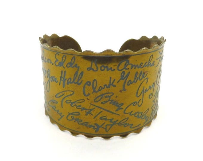 Vintage Autograph Bracelet, Gold Tone Movie Star Autographs Cuff, Movie Lovers Classic Movie Star Bracelet