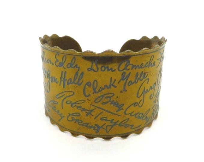Vintage Autograph Bracelet, Gold Tone Movie Star Autographs Cuff, Movie Lovers Classic Movie Star Bracelet