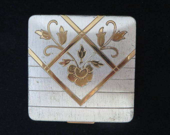 Vintage Ritz NY Compact, Silver Tone Gold Tone Square Makeup Compact