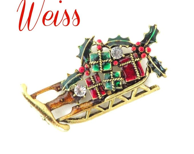 Vintage Brooch - Weiss Sleigh Brooch, Xmas Gift Brooch, Rhinestone Sleigh Pin, Gift Laden Holiday Brooch, Santa's Sleigh Pin, FREE SHIPPING