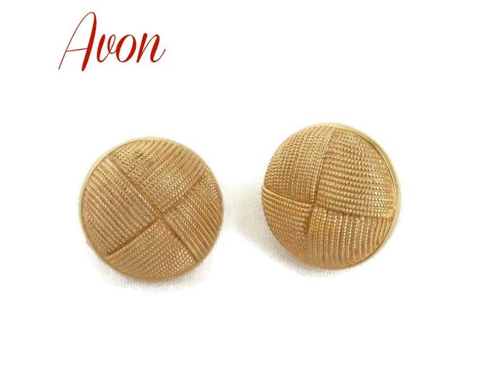 AVON Button Earrings, Vintage Basketweave Earrings, Gold Tone Tailored Clip-on Earrings, Gift for Her, Gift Box, FREE SHIPPING