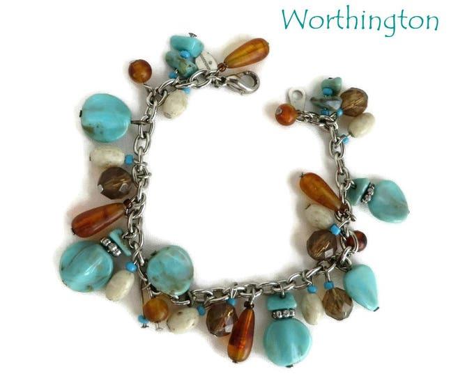 Vintage Bracelet - Turquoise & Amber Bracelet,  Worthington Bead Bracelet, Gift for Her