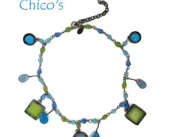 CHICO's Necklace - Vintage Boho Necklace, Green, Blue Glass Beaded Necklace, Gift for Her