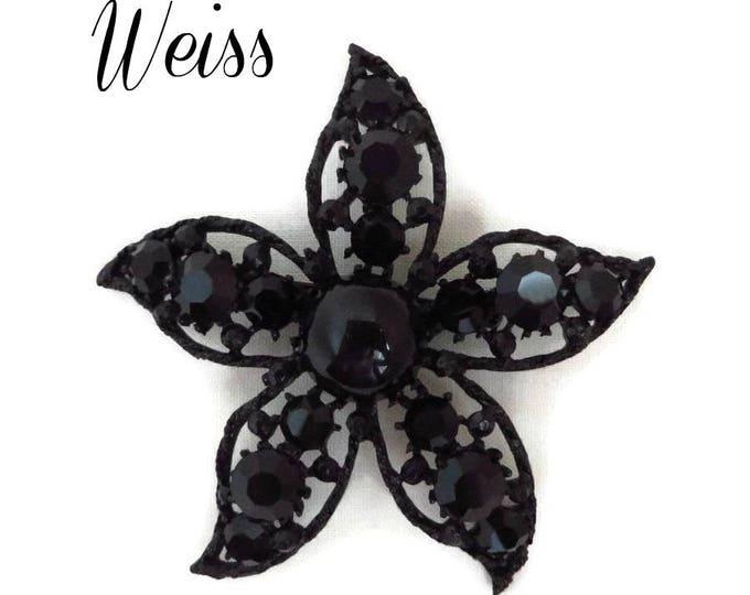Weiss Mourning Brooch - Jet Black Glass, Rhinestone Flower Pin, Signed Designer Brooch