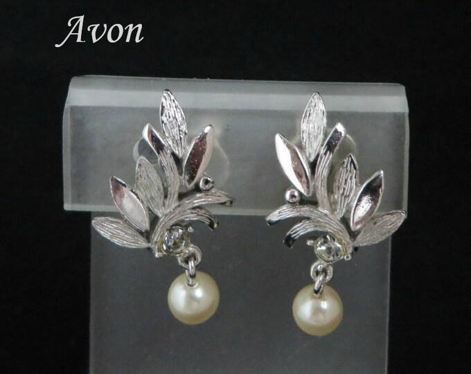 AVON Dangling Pearl Earrings | Vintage Silver Tone Leaf Clip-on Earrings | 1980s Avon Jewelry