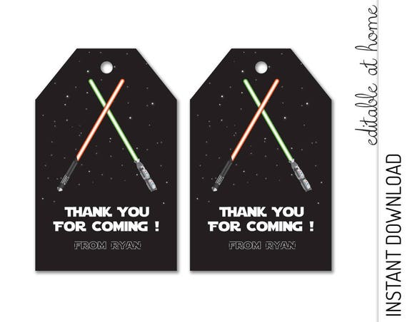 Lightsaber Favor Tag INSTANT DOWNLOAD