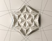 Geometric Wall Decoration - Art Relief - Folded Paper Crystal Mosaic - Modern Geometric Abstract Sculpture - By Kubo Novak -Draw 4EC6