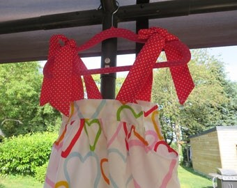 Romantic dress with multicoloured hearts cotton ruffle (4t)
