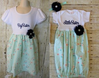 Big Sister Little Sister Dresses - Baby Announcement Dress - Mint & Navy - Roses - Baby Shower Gift - With Headband