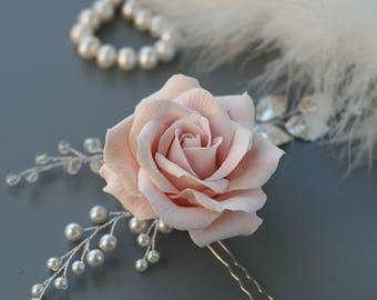 Blush Pink Rose Bridal hair flower Flower Bridal hair pin Rose Wedding hair flower Wedding hair pin Rose hair pin Bridal hair accessories