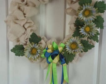 Ivory Burlap Wreath with Pastel Daisies and Coordinating Ribbon