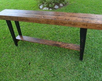 Distressed Sofa Table with Black Legs
