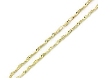 Men Women 14K Yellow Gold Chain 2.5mm Singapore Chain Necklace(MN131-176)