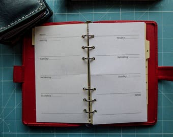 Horizontal Undated Week on 2 Pages Ring Planner Insert, A5 or Personal, Filofax, Kikki K, Paperchase (RWHA)