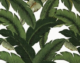 SHIPS SAME DAY Banana Leaves Outdoor Fabric, Dark Green Palm Leaves Upholstery Fabric Beverly Hills Hollywood Regency Outdoor by the yard