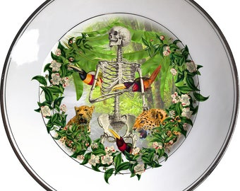Jungle bones - Skull - Vintage Porcelain Plate - #0506