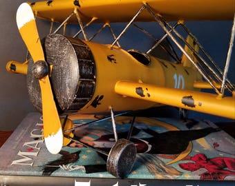 Vintage Decorative Tin Bi-Plane P141 -  Desk Top Metal Airplane