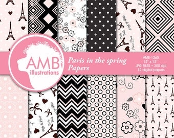 Parisian Digital Papers,  Paris themed Papers, Pink Patterned Papers, Scrapbooking Papers, Commercial Use, AMB-1265