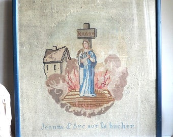 French Antique Jeanne D'Arc Tapestry/Antique Jeanne Of Arc Tapestry/Framed Jeanne D'Arc Tapestry/Antique Jeanne Of Arc Wall Decor