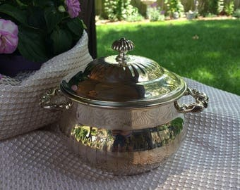 Vintage Leonard Silver Plate Bowl with Lid, Large, Sugar
