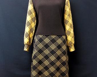 Vintage 1970s Tank Top Dress from Selfridges, London. Brown & Beige Check.