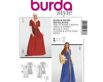 7468 Burda, Historical Costumes, Noble Woman, Damsel, Prairie, Fair Maiden, Dress Up, Halloween Cosplay, sorceress, misses Pattern