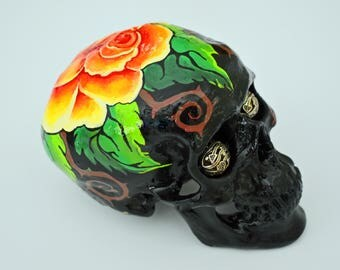 Yellow Roses, Skulls, Art and Collectables, Sculptures, Figurines, Day Of The Dead, Hand Painted, Sugar Skulls, Gift Ideas, Unique Gifts