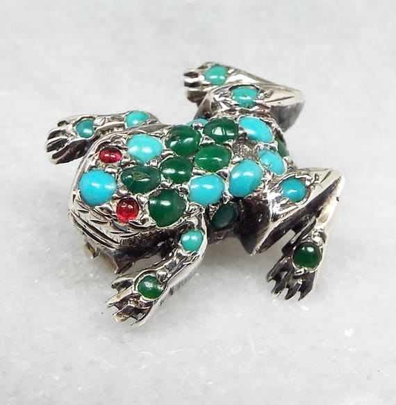 Antique Victorian Sterling Silver Tiny Miniature Turquoise Frog Brooch Shawl Pin
