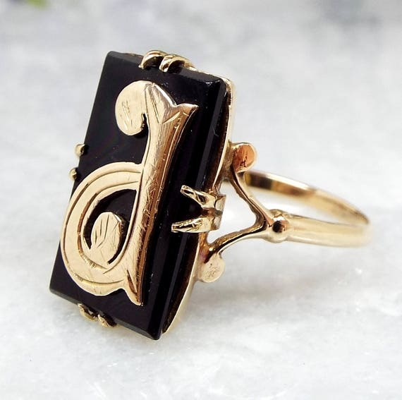Antique Victorian 9ct Yellow Gold Onyx Monogram Initial Letter A P Signet Ring / Size O