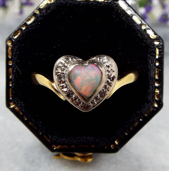 Vintage 18ct Yellow Gold Vivid Natural Opal and Diamond Love Heart Ring / Size P