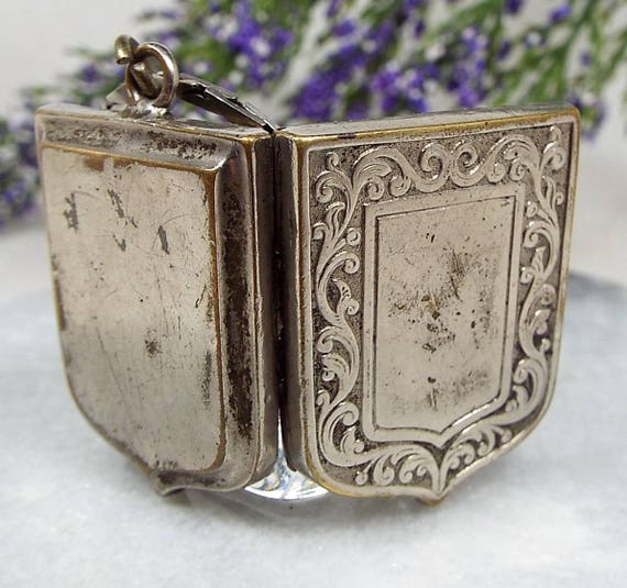 Antique Edwardian Silver Metal Chunky Engraved Shield Shaped Locket Necklace