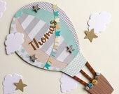 Boys and girls hot air ballon name plaque, nursery wall art, new baby
