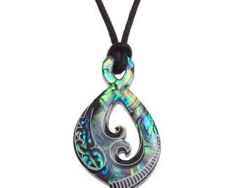 Tide Jewellery Paua Shell Maori Tribal Pendant Gift Boxed