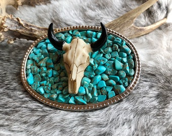 Turquoise & Longhorn Cow Skull Belt Buckle, Turquoise Stones, Boho, Western Accessories, Bohemian, Southwestern, Gypsy, Rustic, Cowgirl