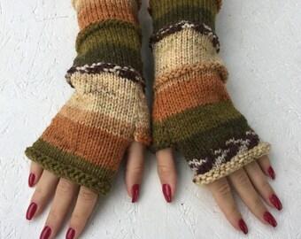 new women gloves Knit Fingerless gloves Mittens Long Arm Warmers Boho Glove Women Fingerless Wrist long arm warmers Ready to ship!