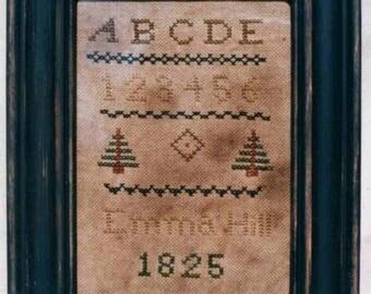 Primitive cross stitch, sampler chart/pattern,primitive needlework, schoolgirl sampler, early American , Emma Hill