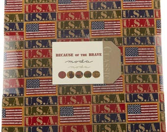 """Because of the Brave Layer Cake - (42) 10"""" x 10"""" squares - Cotton Quilt Fabric - 32950-LC - Moda Fabrics (W3899)"""