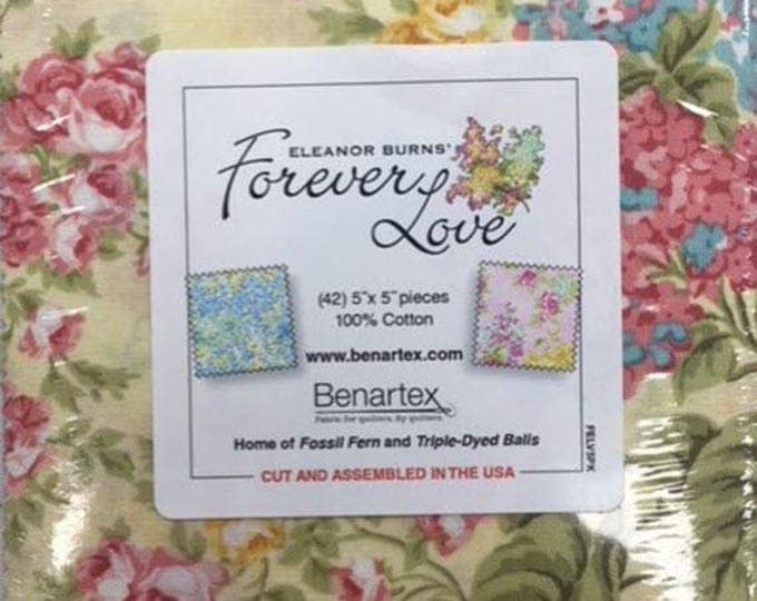 "Forever Love Charm Pack - (42) 5"" X 5"" Squares - Romantic Floral Cotton Quilt Fabric - Eleanor Burns for Benartex - (W3891)"